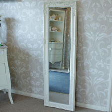 Ivory cream ornate wall mirror tall shabby freestanding floor slim dressing shop
