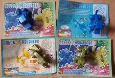 Ü-Ei 4 Figuren Robot Rabauken Mauzzi Wazzl + BPZ  2005 Hund + Katze