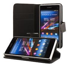Sony Xperia Z1 compact portafoglio protettiva custodia wallet case cover nero