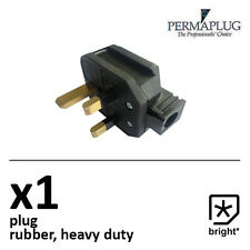 1 x 13 Amp Permaplug Rubber Plug 13A Heavy Duty Mains Electrical 3pin Black