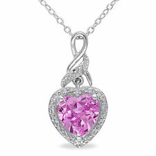 Sterling Silver 2.31 Ct TW Diamond & Pink Sapphire Heart Love Pendant Necklace