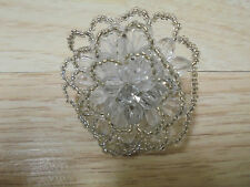 Fashion Beautiful Clear Beads Flower Ring ONE SIZE FITS ALL