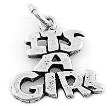 """STERLING SILVER """"IT'S A GIRL"""" CHARM OR PENDANT"""