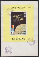 1972 Ras al Khaima FDC Space Weltraum Satellite Earth Olympic Games [brd772]