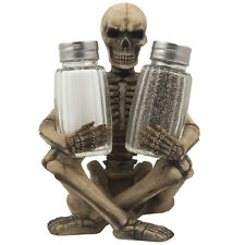 Scary Skeleton Salt & Pepper Shaker Set Figurine Kitchen Halloween Decoration