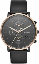 Men's Skagen World Time Black Leather Band Watch SKW6300