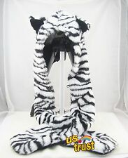 White Tiger Full Animal Hood Hoodie Hat Faux Fur 3 in 1 Function Cap New