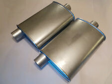 NEW PERFORMANCE TURBO MUFFLERS PAIR 3 INCH OFFSET/CENTER ALUMINIZED