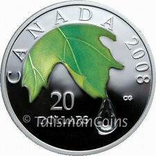 Canada 2008 Swarovski Crystal Raindrop $20 Pure Silver Maple Leaf Color Proof