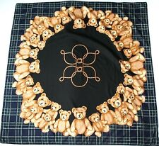 Teddy Bear Print Scarf - Polyester - BHS Vintage -  Black / Brown / Blue - Large
