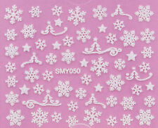 Christmas WHITE Snowflakes Glittery Xmas 3D Nail Art Sticker Decals UV SMY050