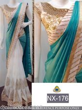 Designer Wear Paper Silk with Georgette Sequence Saree