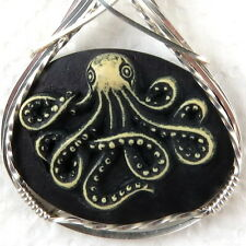 Octopus Cameo Pendant .925 Sterling Silver Jewelry Black Resin