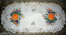 "Bountiful Fall  Lace Doily 27"" Doily Runner  Pumpkin Butterfly Thanksgiving"