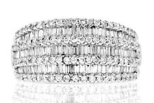 VS1 Baguette Diamond Anniversary Band 1.40ct Ring White 18kt Gold 7Row