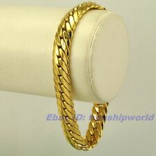 "9""9mm30g REAL SUPPER MEN 18K YELLOW GOLD GP BRACELET SOLID FILL GEP SNAKE CHAIN"