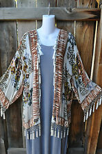"ART TO WEAR HAND BEADED CREAM SILK VELVET KIMONO JACKET BY ARIS.A, 48""B,"