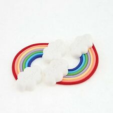1* Rainbow Angel-e Clouds Polymer Clay Cabochon Flat Back Scrapbooking Craft DIY