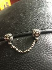 Genuine Pandora Silver & 14ct Gold Bouquet Clip Safety Chain Charm 790864-05 5cm