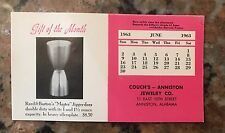 1963 Couch's Jewelry Calendar Blotter