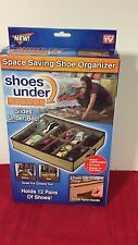 NEW SEALED SPACE SAVING SHOE ORGANIZER SLIDE UNDER BED HOLDS 12 PAIRS CLEAR TOP