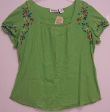 NEW! Embroidered GREEN 100% COTTON GAUZE Hippie Peasant PLUS SIZE Top Blouse 1X