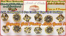 22k 23k 24k Gold Plated 6 Pc Set Traditional South Indian Earring Studs