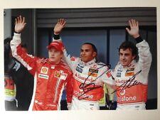 Hamilton / Alonso Hand Signed Autograph Colour photo of 2007 McLaren Duo 30x20cm