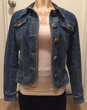 Denim jean fitted jacket Size Small S LIVE A LITTLE Big Buttons