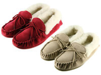 Ladies Wool Lined Moccasins Slippers With Suede Upper And Non Slip TPR Sole