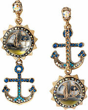 New Betsey Johnson® Goldtone Anchor & Sail Boat Bauble Mismatch Earrings