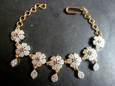 Cubic Zirconia Ruby Gold Plated AD CZ adjustable Chain India Bracelets / bangles