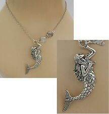 Silver Mermaid Pendant Necklace Jewelry Handmade NEW adjustable Accessories