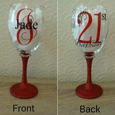Personalised Glitter wine glass great for birthdays 18th, 21st, 30th, 50th, 60th
