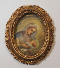 Small Vtg Gold Gilt Wood Frame-Italy-MARY& JESUS-Florentine Wall hanging w glass