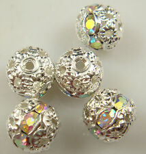 8mm 5pcs Czech white AB Crystal Rhinestone Silver Rondelle Spacer Beads 1e1d