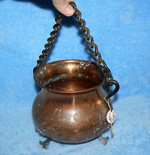 SWISS MADE Stockli Netstal Hammered Copper Footed Cauldron Pot Iron Chain Handle