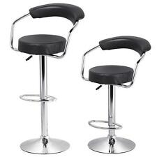 2 PCS Adjustable Height Counter Black Swivel Pub Style Home Bar Stools /Chairs