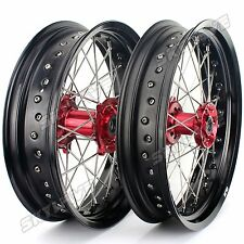 "CR 125 250 CRF 250 450 X R Complete Black Wheel Rims Red Hubs 17""/17"" SUPERMOTO"