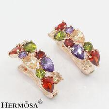 75% OFF Splendid Amethyst Garnet Peridot 18K GP Rose Gold Women Party Earrings