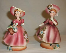 Vintage Napco Ceramic Ladies Figurines Pink Dress Flowers Set 2 #3393
