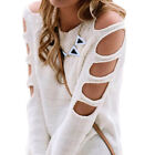Women Long Sleeve Loose Cardigan Knitted Sweater Jumper White Gray Sweater Tops