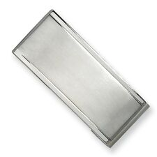 Chisel Stainless Steel Brushed and Polished Engravable Money Clip 44mm x 18mm