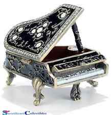 Baby Grand Piano Bejeweled Enamel Trinket Box With Crystals