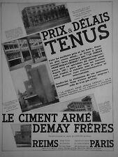 PUBLICITÉ 1931 CIMENT ARMÉ DEMAY FRÈRES REIMS GOULET BOURDON-L'ARCHAMBAULT