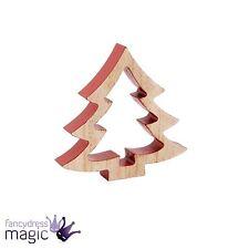 madera 12cm Rojo Árbol Navidad abeto Nordic 3d CORTE DE PIE DECORACIÓN