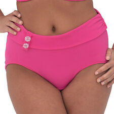 New Pink High Waisted Bikini Bottoms UK 12 Briefs Curvy Kate Luau Love Flamingo