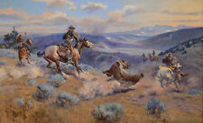 """oil painting handpainted on canvas""""The cowboys are hunting a wild animal""""@3182"""