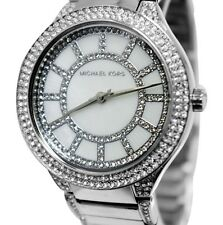 MICHAEL KORS KERRY Pave Embellished Silver Tone White Dial Women's Watch MK3311