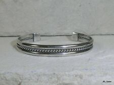 STERLING SILVER OLD PAWN NAVAJO BRAIDED ROPE CENTER CUFF BRACELET 6.5 INCH